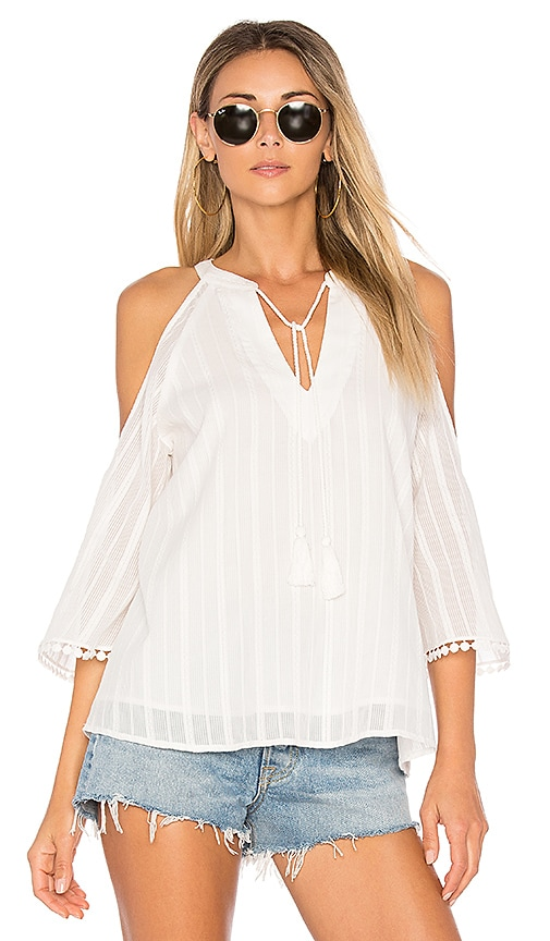 maven west Taylor Cold Shoulder Top in White