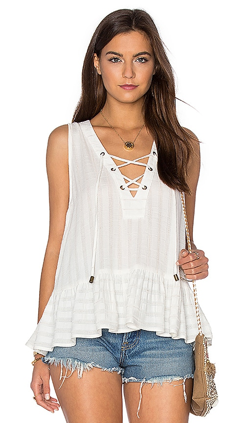 maven west Lace Up Ruffle Tank in White
