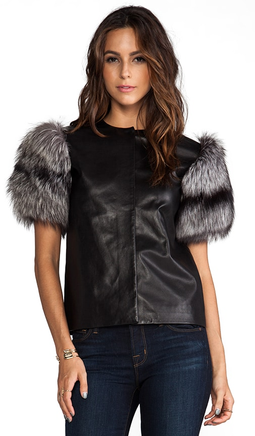 Silver Fox Fur Sleeve Top