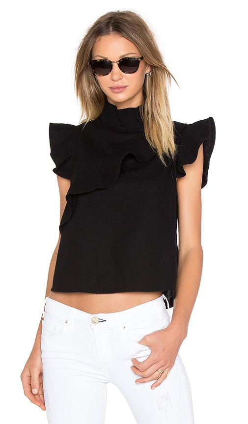 MCGUIRE Sorbonne Ruffle Top in Barrett Black