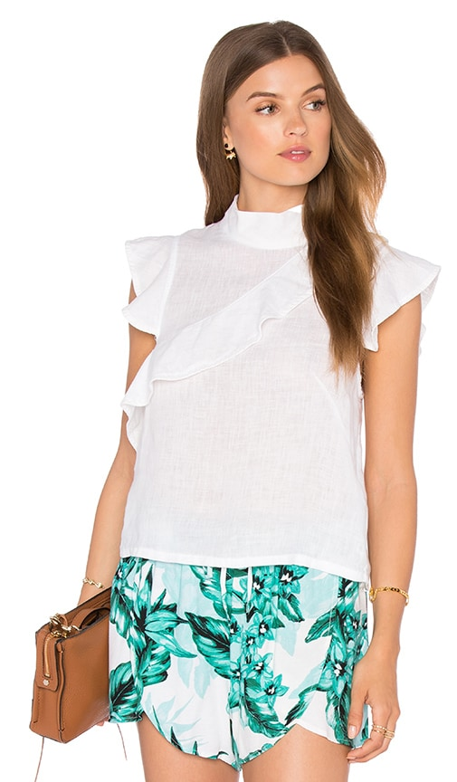 MCGUIRE Sorbonne Ruffle Top in White