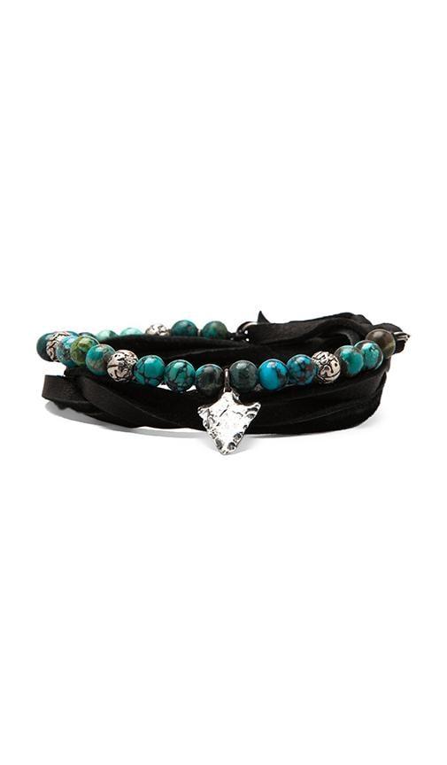 Three Wrap Leather and Stones Bracelet