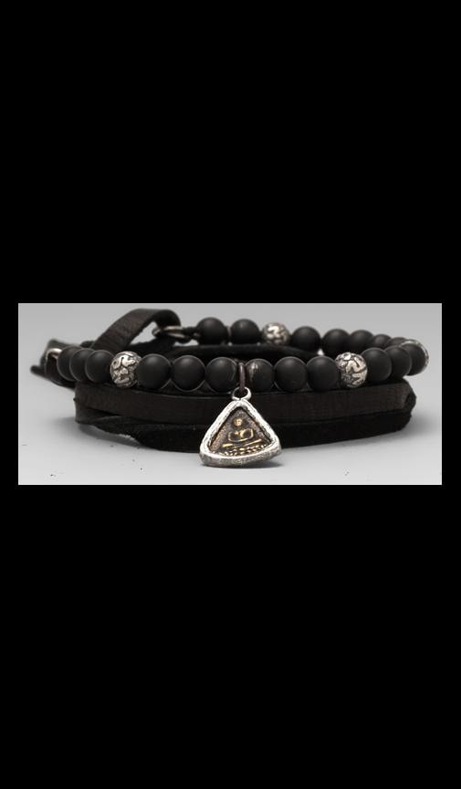 Three Wrap Leather and Stones Bracelet