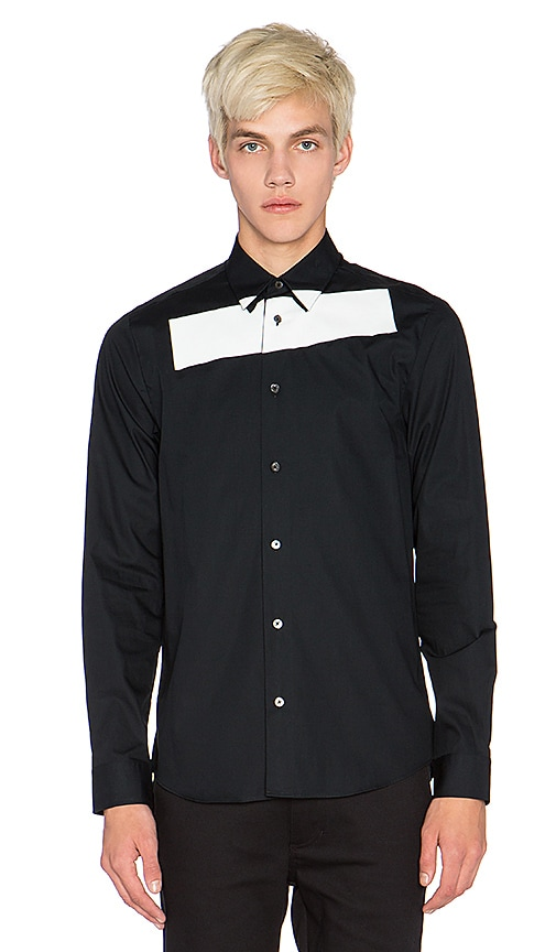 McQ Alexander McQueen Stripe Tux Shirt in Darkest Black
