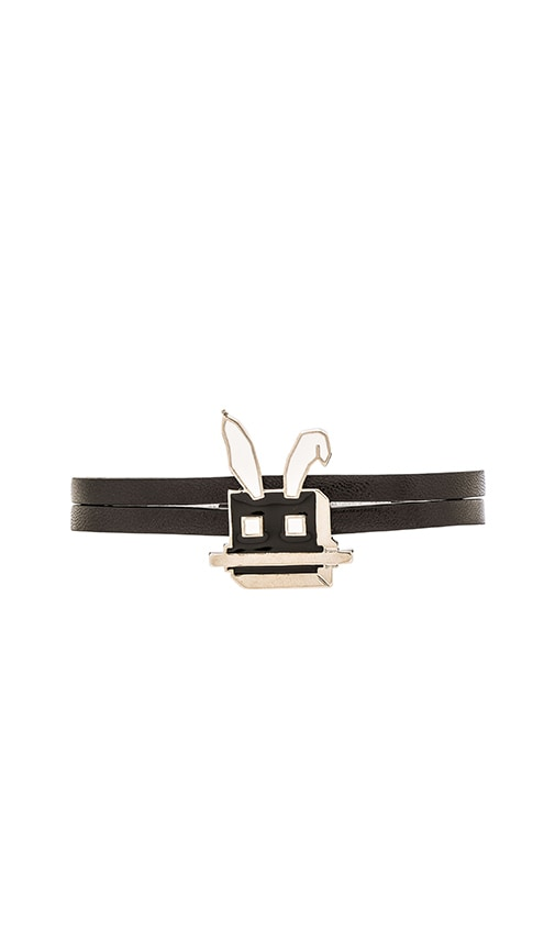 McQ Alexander McQueen Electro Bunny Mini Bracelet in Black & Silver