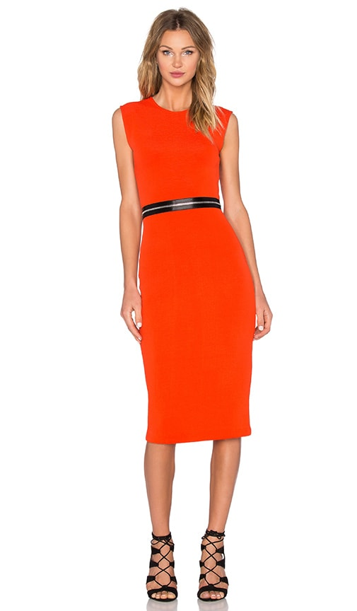McQ Alexander McQueen Zip Bodycon Dress in Red