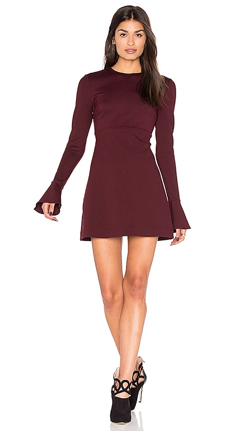 McQ Alexander McQueen Volant Long Sleeve Dress in Wine