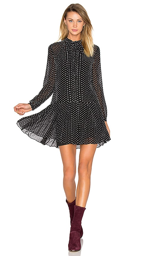 McQ Alexander McQueen Pintuck Pussybow Dress in Black & White