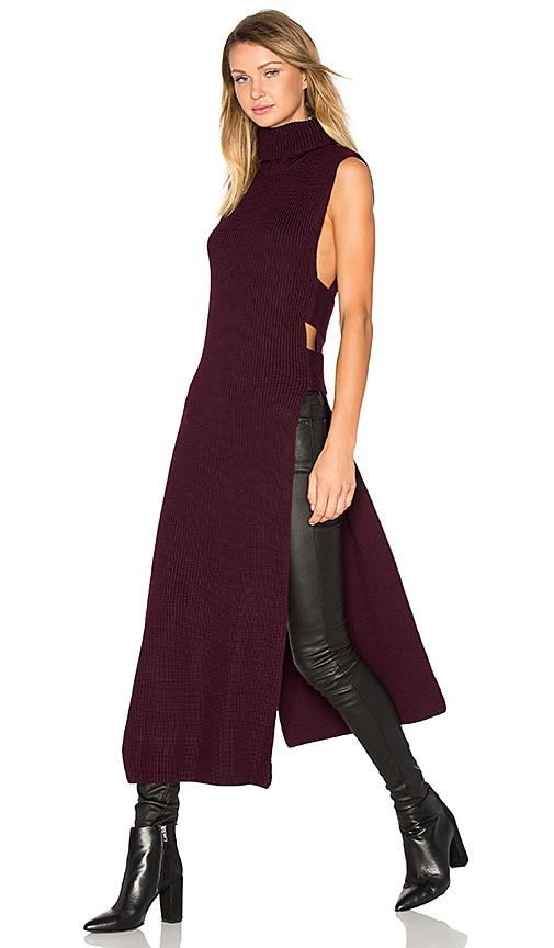McQ Alexander McQueen Sleeveless Turtleneck Midi Dress in Burgundy