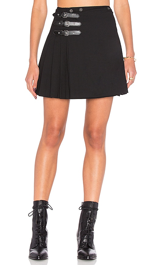 McQ Alexander McQueen Buckle Pleat Skirt in Black