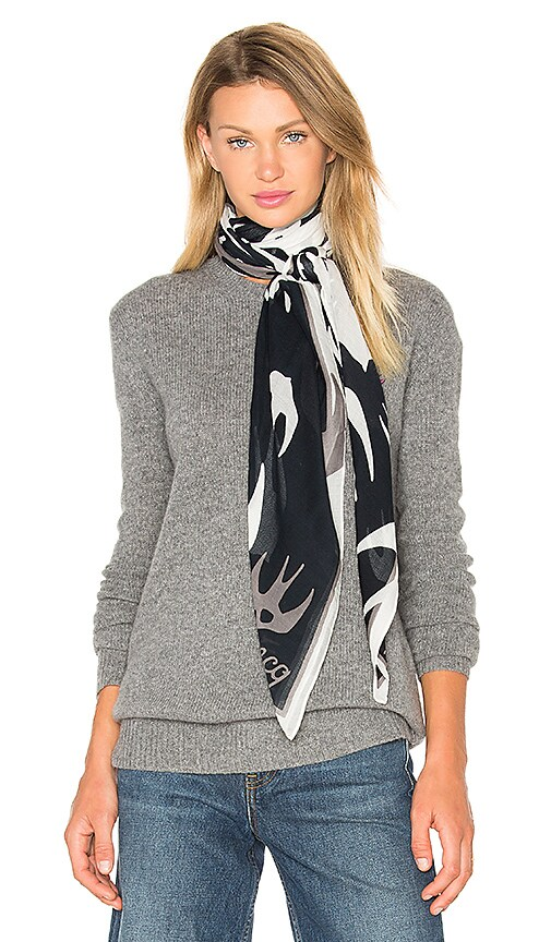 McQ Alexander McQueen Swallow Swarm Scarf in Pearl Grey