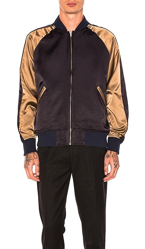 Maiden Noir Reversible Satin Souvenir Jacket in Coral