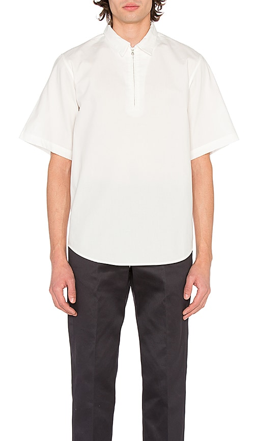 Maiden Noir Broadcloth Zip Shirt in White
