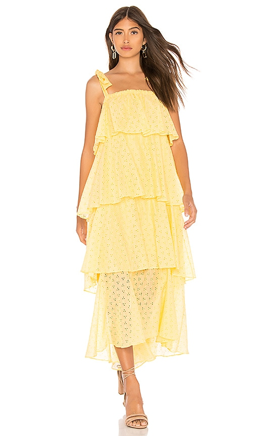 MDS Stripes Tiered Cami Dress in Yellow