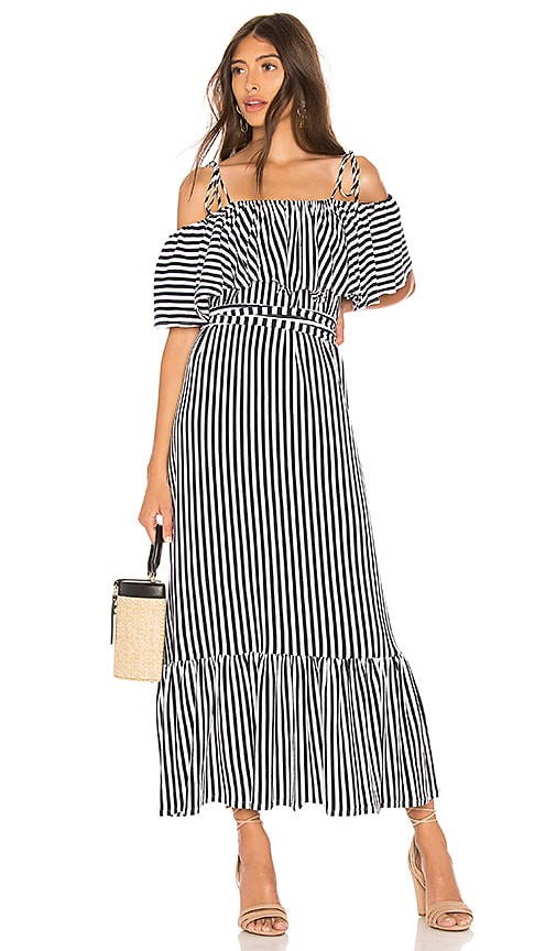 MDS Stripes Rebecca Ruffle Dress in Navy