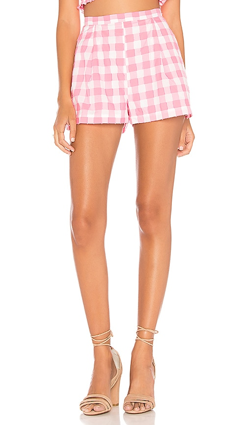 MDS STRIPES Pink Check Pleated Shorts