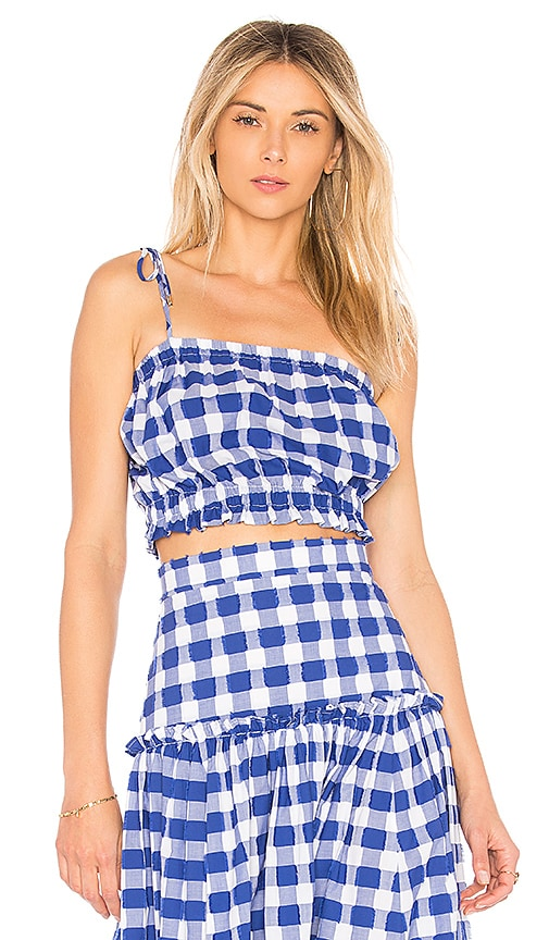 MDS Stripes Cropped Cami in Blue