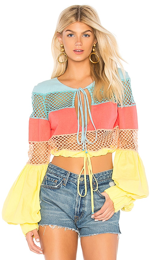 A Mere Co. Gustavia Lace Stripes Top in Teal