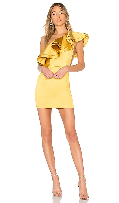 Michael Costello x REVOLVE Joey Mini Dress in Yellow