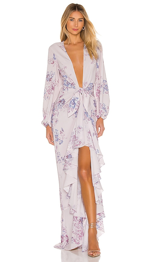 Michael Costello X Revolve Vienna Gown In Lilac Floral