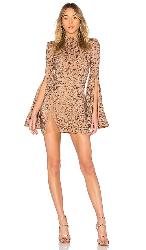 Michael Costello x REVOLVE Mr. Gibson Mini Dress in Brown