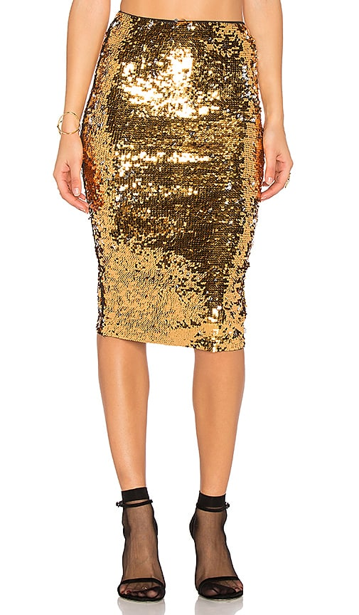 Mes Demoiselles Rita Sequin Skirt in Metallic Gold
