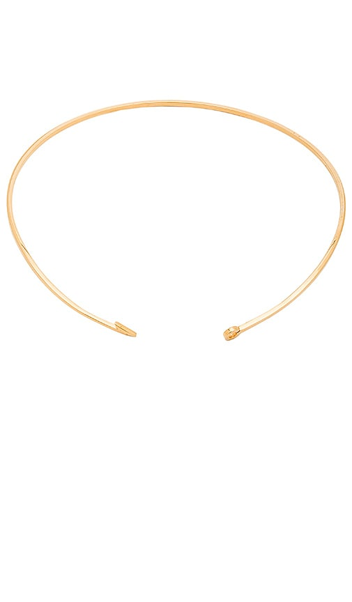 Miansai Thin Fish Hook Necklace in Metallic Gold