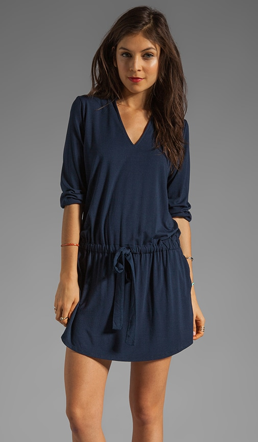 Justine 3/4 Sleeve Split Neck Drawstring Waist Dress