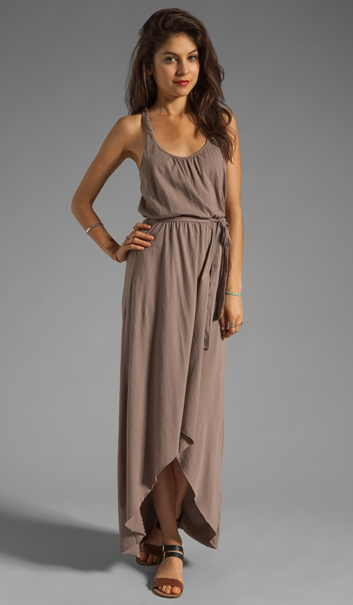 Sleeveless Scoop Neck Racerback Hi-Low Maxi
