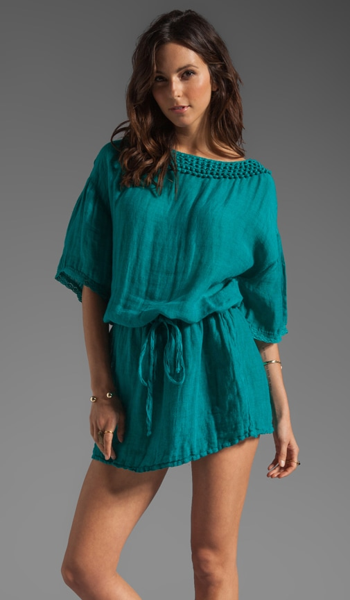 Textured Linen Yael Elbow Sleeve Boatneck Tunic Dress