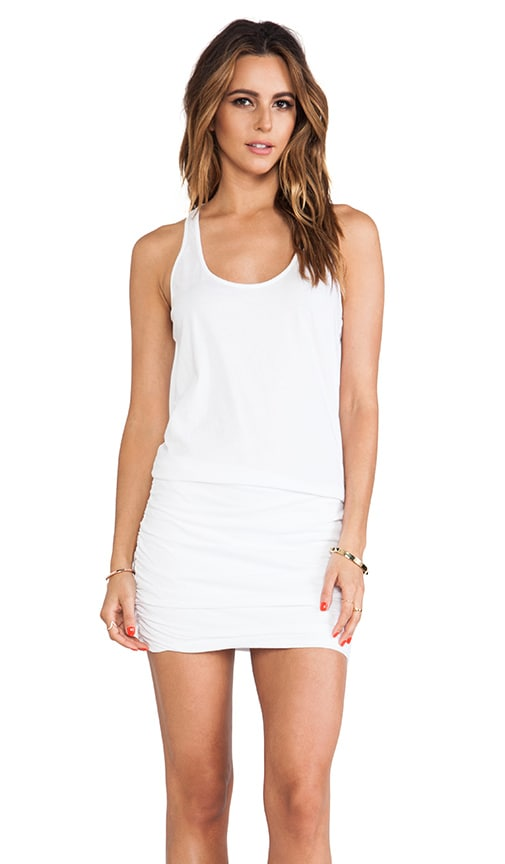 Jersey Knit Sleeveless Scoop Neck Racerback Shirred Dress