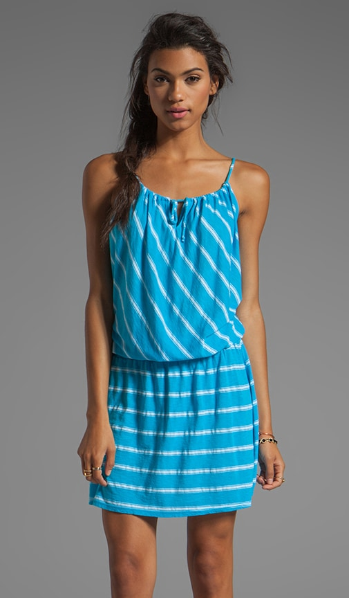 Hampton Stripe Split Neck Drop Waist Halter Dress