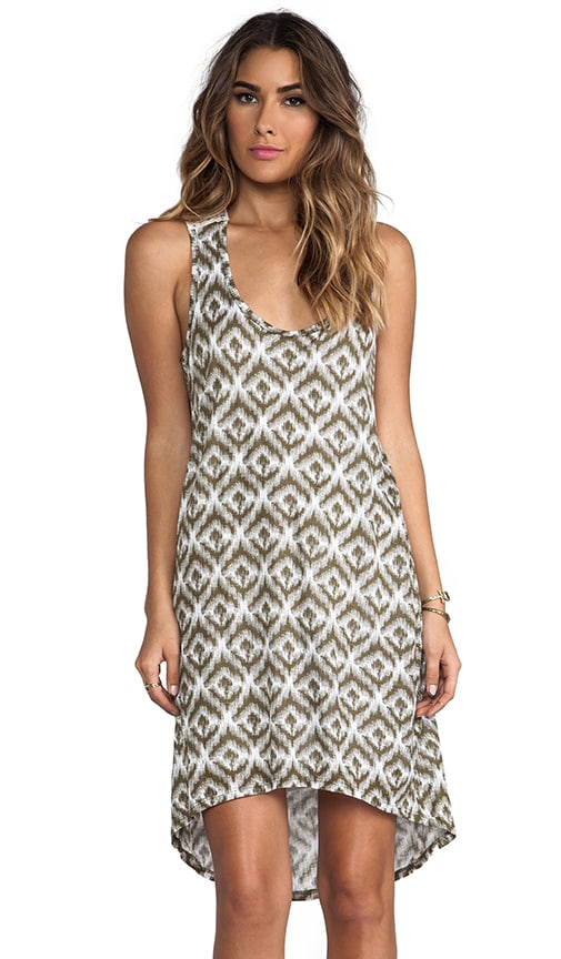 Ikat Print Crochet Back Hi-Low Dress