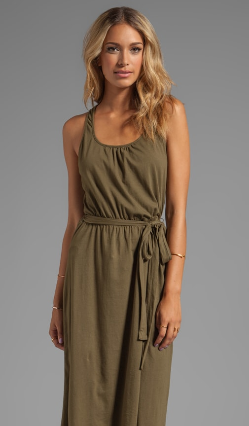 Jersey Knit Sleeveless Scoop Neck Racerback Hi-Lo Maxi Dress