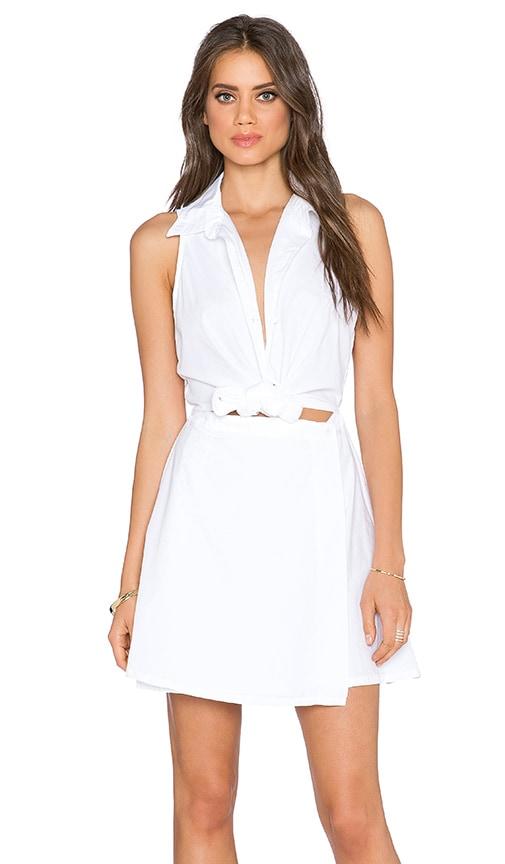 Michael Stars Tie Shirt Dress in White