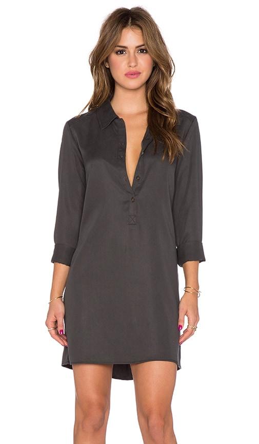 Michael Stars Long Sleeve Collard Shirt Dress in Oxide