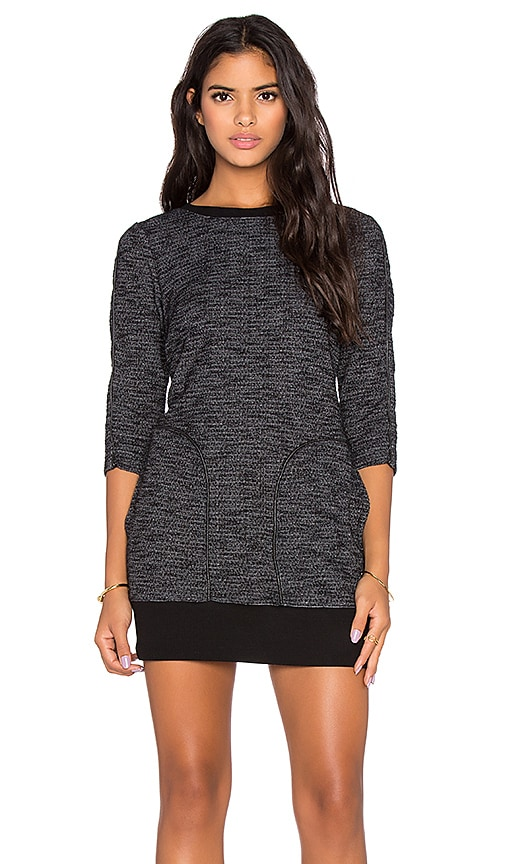 Michael Stars Front Pocket 3/4 Sleeve Dress in Black