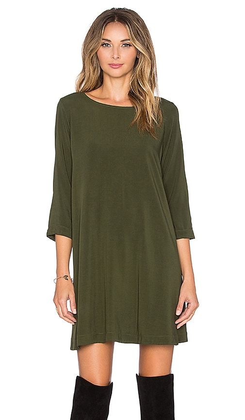 Michael Stars 3/4 Sleeve Crewneck Mini Dress in Green