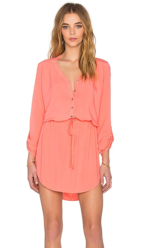 Michael Stars Mini Shirt Dress in Coral