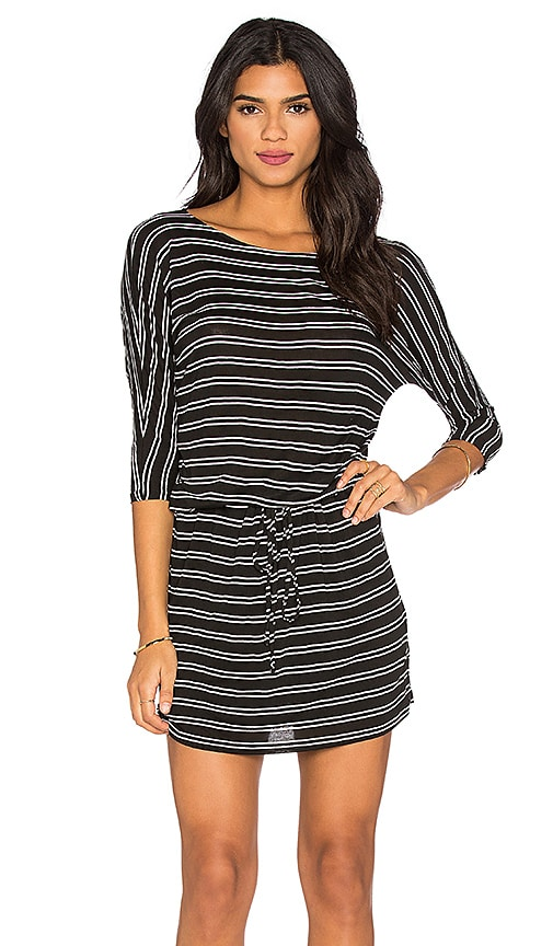 Michael Stars 3/4 Sleeve Drawstring Dress in Black & White
