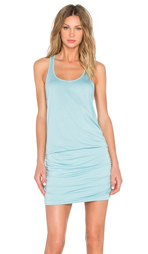 Michael Stars Scoop Neck Shirred Racerback Dress in Blue