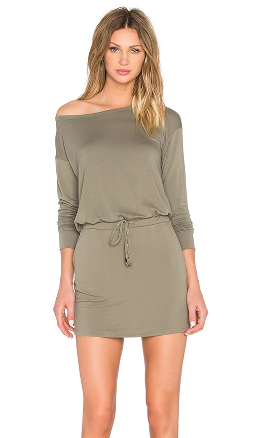 Michael Stars Off The Shoulder Drawstring Dress in Olive
