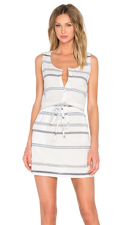 Michael Stars Scoop Neck Drawstring Dress in White