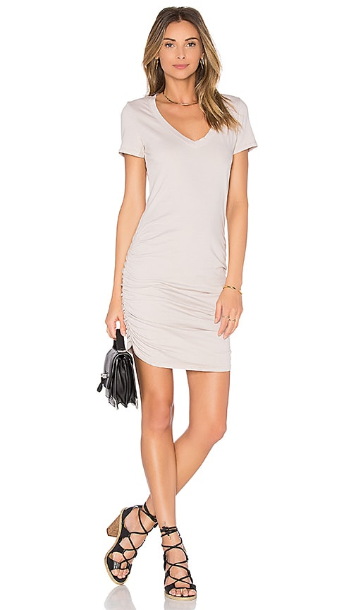 Michael Stars V Neck Rouched Shirt Dress in Tan