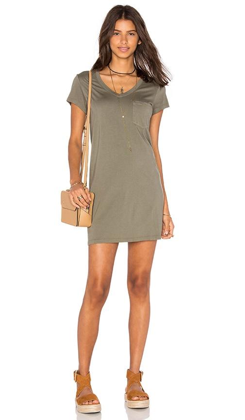 Michael Stars Short Sleeve V Neck Dress in Olive moss
