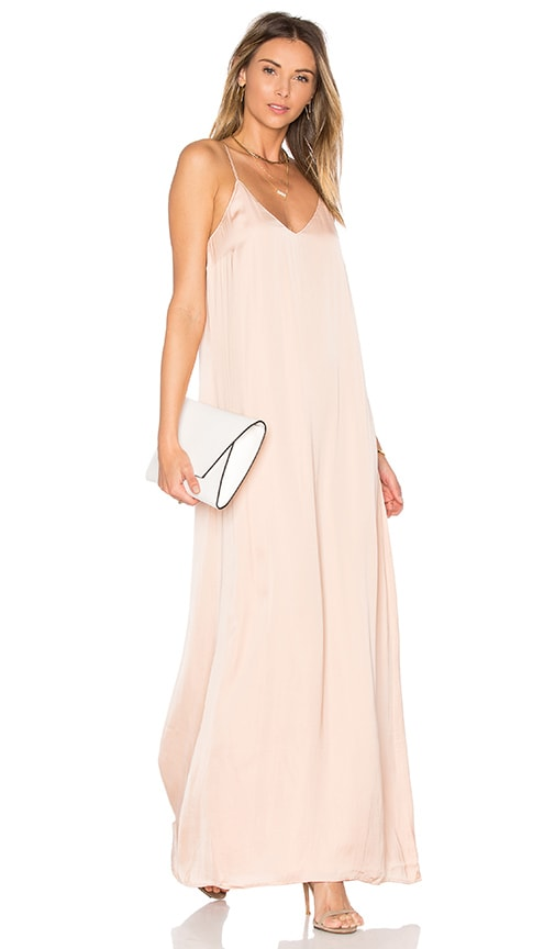 Michael Stars Zoey Satin Slip Dress in Beige