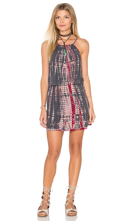 Michael Stars Naomi Wash Tie Dye Halter Tank Dress in Gray