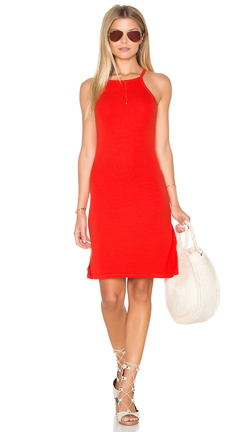 Michael Stars 2x1 Rib Cami Tank Dress in Red