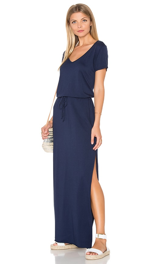 Michael Stars V Neck Drawstring Maxi Dress in Blue