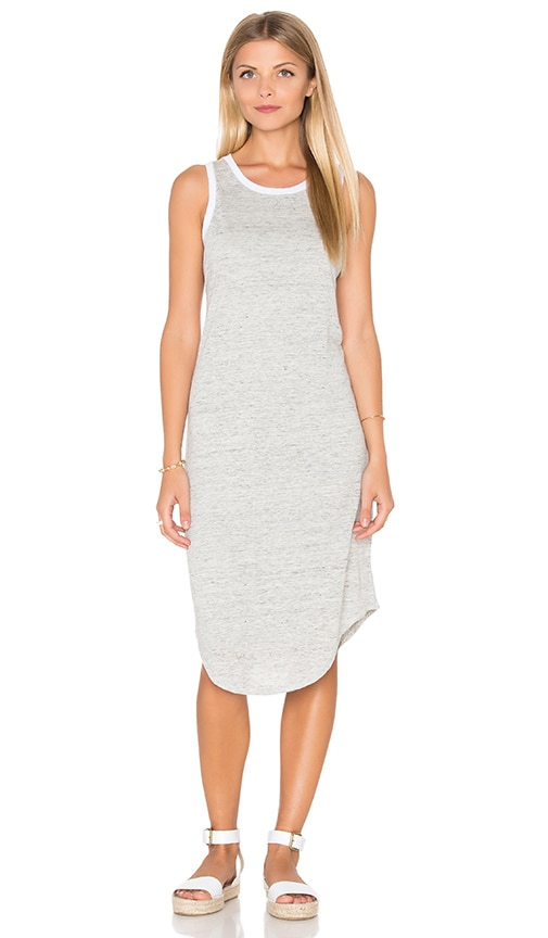 Michael Stars Linen Knit Keyhole Back Tank Dress in Gray